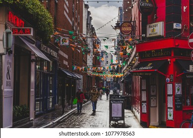 DUBLIN, IRELAND- April 25th, 2018: detail of the historical Dame Lane in Dublin city centre with its famous traditional Irish pubs