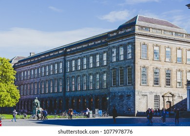 DUBLIN, IRELAND- April 25th, 2018: view of the courtyard of the famous Trinity college in Dublin city centre