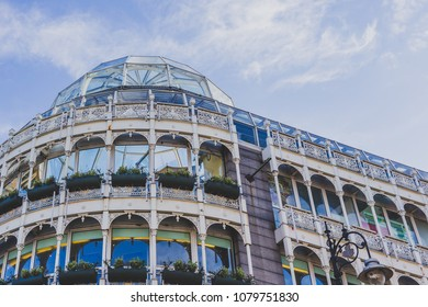 DUBLIN, IRELAND - April 28th, 2018: Stephen's Green shopping centre's architecture in Dublin city centre on a spring day
