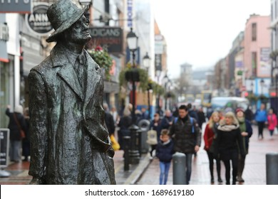 Dublin, Ireland. April 3, 2018 A statue of the famous Irish writer James Joyce in Dublin city centre on a bright day in April as tourist numbers remain good for the Irish captial.