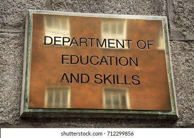 DUBLIN. IRELAND - August 09 ,2017 : The nameplate on the wall: Department of education and skills