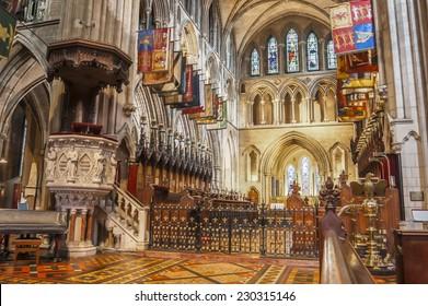 DUBLIN, IRELAND - AUGUST 12: Interior of Saint Patrick Cathedral in Dublin, Ireland in Dublin, Ireland on August 12, 2014