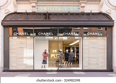 DUBLIN, IRELAND - AUGUST 13, 2015: A CHANEL outlet. Worldwide, CHANEL operates some 310 Chanel boutiques. Since the 1990s all CHANEL bags are numbered to avoid counterfeit.