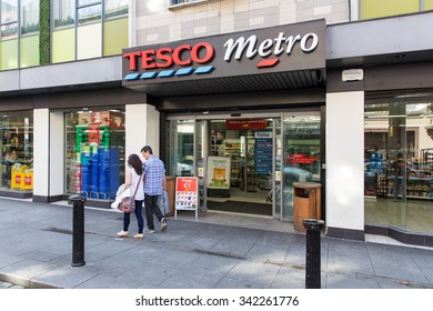 DUBLIN, IRELAND - AUGUST 13, 2015: A Tesco Outlet. Tesco plc had group sales of GBP 69.7 billion and GBP 1.4 billion group profit in 2015.