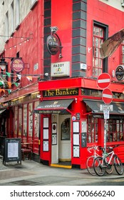 DUBLIN, IRELAND - AUGUST 13: The Bankers, a traditional pub near Temple bar, on August 14, 2017, in Dublin, Ireland