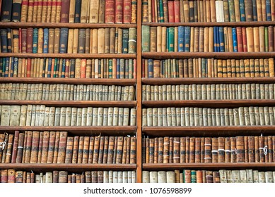 DUBLIN, IRELAND - AUGUST 13: Old books in The Long Room in the Trinity College Old Library, on August 13, 2017 in Dublin, Ireland