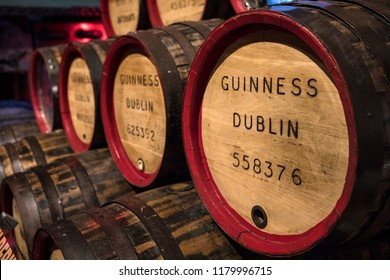 Dublin, Ireland - August 13th 2018: Vintage Guinness barrels, on display at the Guinness Storehouse in Dublin, Ireland.