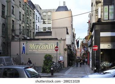 Dublin, Ireland - August 19, 2014: Central streets of the Dublin in Ireland.