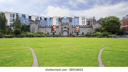 Dublin, Ireland - August 20, 2014: Coach House and Dubhlinn Gardens in Dublin Castle
