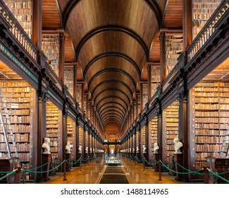 Dublin, Ireland - August 2019: Inside the Long Room of The Old Library at Trinity College Dublin during opening hours before tourists fill the room