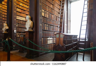 Dublin, Ireland - August 23, 2018: The Long Room in the Old Library at Trinity College Dublin