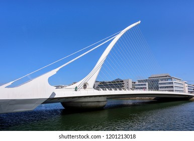 DUBLIN IRELAND - AUGUST 25, 2018: Samuel Beckett Bridge across Liffey River