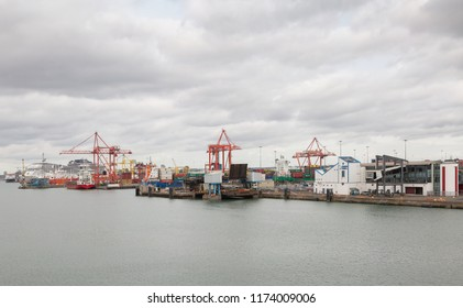 DUBLIN, IRELAND- August 28th, 2018: View of container ships and cruise liner at Dublin port in Ireland.
