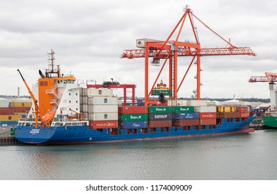 DUBLIN, IRELAND- August 28th, 2018: Container ship being loaded at Dublin port.