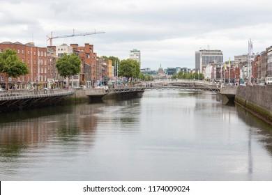 DUBLIN, IRELAND- August 28th, 2018: View along the River Liffey in Dublin city, Ireland