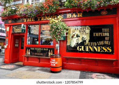DUBLIN. IRELAND - August  29 ,2018 : The Red Temple Bar Pub in city center.