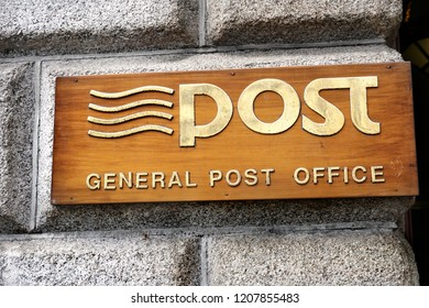 DUBLIN. IRELAND - August  29 ,2018 : signboard of Post Office on O'Connell street