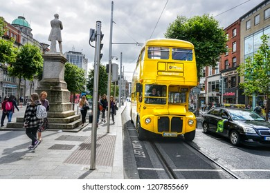 DUBLIN. IRELAND - August  29 ,2018 :The old yellow double-decker on O'Connell street