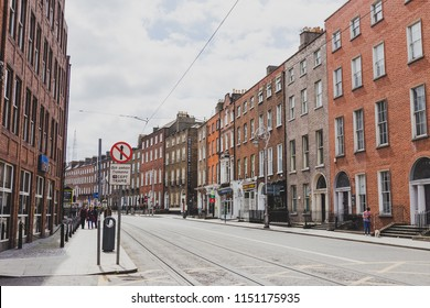 DUBLIN, IRELAND - August 4th, 2018: view of a deserted Harcourt Street in Dublin city centre shot in full summer