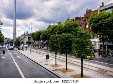 Dublin, Ireland - August 8, 2018:  Busy city streets of Dublin filled with people and is the capital of the Republic of Ireland,