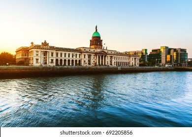 Dublin, Ireland. The Custom house in Dublin, Ireland in the evening with reflection in the river