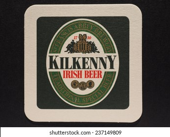 DUBLIN, IRELAND - DECEMBER 11, 2014: Beermat of Irish beer Kilkenny
