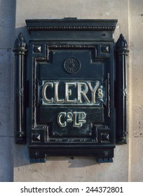 DUBLIN, IRELAND - DECEMBER 19: A decorative Clery & Co. Ltd. nameplate at the entrance to the famous Dublin department store in O'Connell Street on December 19, 2014 in Dublin, Ireland.