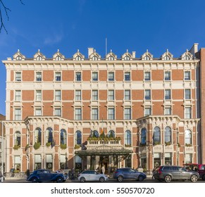 Dublin, Ireland - December 28, 2016:  The historic Shelbourne Hotel in Dublin located on St. Stephens Green.