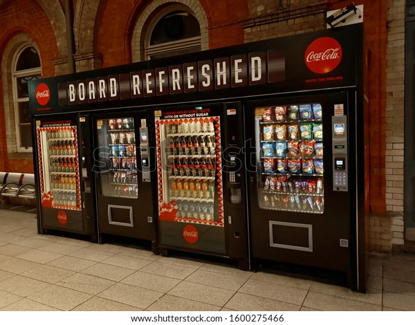 DUBLIN, IRELAND - DECEMBER 28, 2019: Board Refreshed - vending machines with soft drinks and confectionery at the Connolly Station in Dublin.