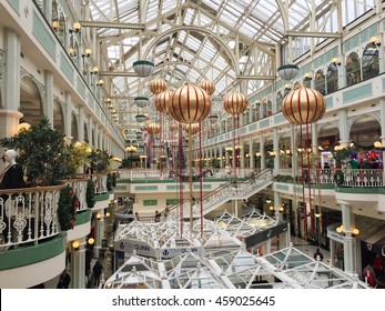 DUBLIN, IRELAND - DECEMBER 6, 2015 : People walking in the Stephen's Green Shopping Centre. The complex is located in the Grafton Street, the most famous shopping area of the Irish capital.