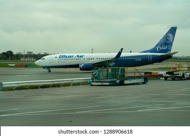 Dublin, Ireland, December Jan 2nd, 2018: Blue Air Boeing 737-883 on the Taxiway at Dublin Airport