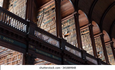DUBLIN, IRELAND - FEB 15, 2014: The Long Room library in the Trinity College. Trinity College Library is the largest library in Ireland and home to The Book of Kells.