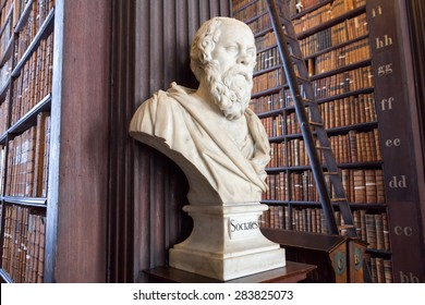 DUBLIN, IRELAND - FEB 15: Sculpture of Socrates in Trinity College Library on Feb 15, 2014 in Dublin, Ireland. Trinity College Library is the largest library in Ireland and home to The Book of Kells.