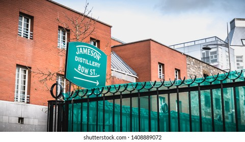 Dublin, Ireland - February 11, 2019: architectural detail of the old distillery of irish whiskey Jameson neighborhood Smithfield Square on a winter day