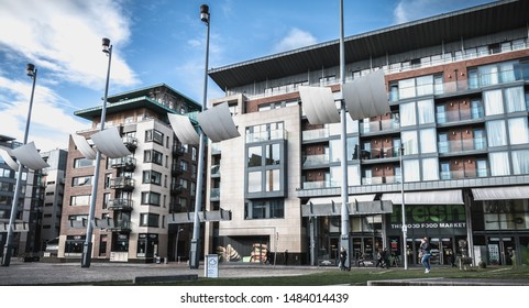 Dublin, Ireland - February 11, 2019: Modern building architecture detail of the new Smithfield Square on a winter day