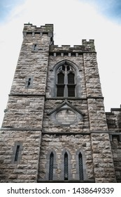 Dublin, Ireland - February 12, 2019: Architectural detail of St. Michan's Roman Catholic Church near Smithfield on a winter day