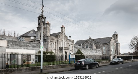 Dublin, Ireland - February 13, 2019: Architectural detail of Arbor Hill Prison at the downtown historic city center on a winter day