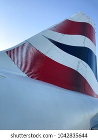 Dublin, Ireland - February 2018: Close up of the tail fin of a British Airways jet showing the company's logo