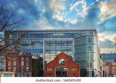 Dublin / Ireland - February 2020 : New HubSpot office building located in Dublin Docklands district at the bank of River Liffey