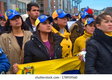DUBLIN, IRELAND - FEBRUARY 22: Unidentified protesters rallying against Venezuela's President Nicolas Maduro on February 22, 2014 in Smithfield Plaza, Dublin, Ireland.