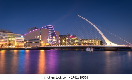 Dublin, Ireland, Jan 07 2018: One of the most famous bridge of Dublin, the Harp Bridge, photographed during the blue hour.