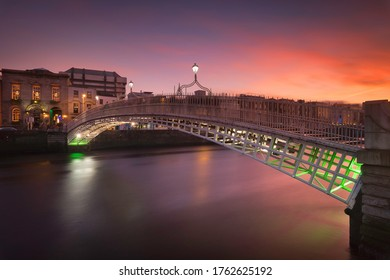 Dublin, Ireland, Jan 27, 2018: The famous bridge of Dublin called Ha Penny Bridge photographed during the sunset