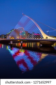 Dublin, Ireland - January 1, 2019: Long exposure of Samuel Beckett Bridge in Dublin (with Convention Center in Background)