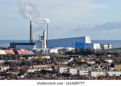 Dublin, Ireland - January 13 2020: Pigeon House Power Station and Dublin Waste to Energy Covanta Plant in dublin, ireland.
