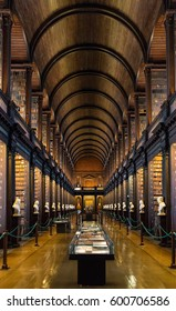Dublin Ireland January 23 2017 The Old Library building at Trinity College in Dublin includes the Book of Kells exhibit and the landmark Long Room. Star Wars used it as a model for the Jedi Library.