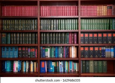 Dublin, Ireland - January 30, 2018: a bookshelf containing volumes of books about Irish Law.