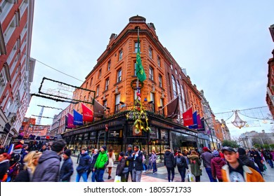 Dublin, Ireland - January 5, 2020: Weir and Sons jewelry shop in Grafton Street in Christmas time