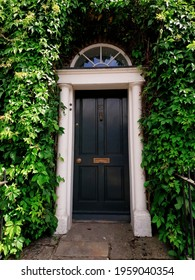 DUBLIN, IRELAND - Jul 26, 2019: An entrance to Georgian townhouse in Dublin, Ireland  Decorative black front door framed by leaves of a climbing plant