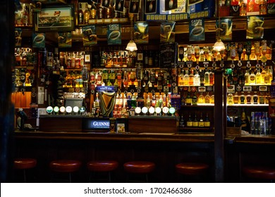 DUBLIN, IRELAND - JULY 1, 2019: Temple Bar is a famous landmark in Dublins cultural quarter visited by thousands of tourists every year. Inside of the Temple Bar in the center of the Irish capital