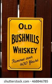 DUBLIN, IRELAND - JULY 12, 2016: Old Bushmill in the Irish whiskey museum in Dublin. It's a popular touristic destination.